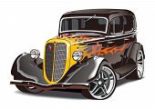stock photo of muscle-car  - Vector illustration hot rod of retro soviet car GAZ - JPG