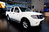 Moscow, Russia - August 25:  White Jeep Car Nissan Navara  On Display At Moscow International Exhibi
