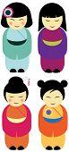 Set of Kokeshi dolls