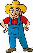 Cartoon Farmer With Dungarees