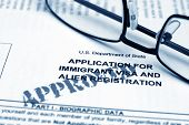 stock photo of citizenship  - Close up of Application for immigrant visa - JPG