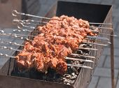 kebab of pork with onions