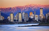 picture of jericho  - Vancouver Skyline Harbor High Rises Sailboat English Bay From Jericho Beach Snow Mountains Sunset British Columbia Pacific Northwest - JPG