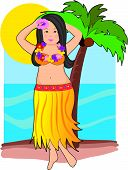 stock photo of hula dancer  - Hawaiian hula dancer with lei and palm tree - JPG