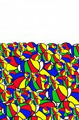 Background of hand drawn colorful beach balls with plenty of room for copyspace.