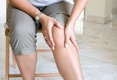 stock photo of knee-cap  - Woman suffering from pain in knee joint - JPG