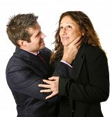 Businessman strangling a businesswoman.