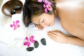 picture of massage therapy  - Young Asian woman restful on massage therapy bed in spa - JPG