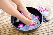 Feminine feet in oriental foot bath