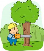 Illustration of a Logger at Work