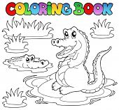 stock photo of crocodilian  - Coloring book with two crocodiles  - JPG
