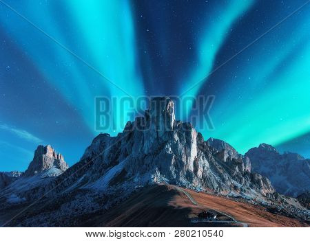 Northern Lights Above Mountains At