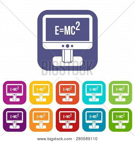 Monitor With Einstein Formula Icons