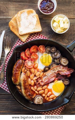 Fried Eggs Sausages Bacon Beans