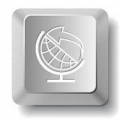 Globe and arrow. Vector computer key.