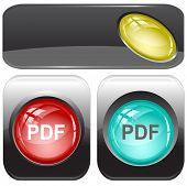 Pdf. Internet buttons. Raster illustration.