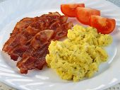 Scrambled Eggs, Crispy Bacon And Tomato Wedges