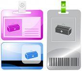 Medical suitcase. Id cards. Raster illustration.