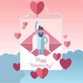 Soaring White-winged Bearded Angel With Valentines Heart Shaped Balloon, Pink Sky Background. poster