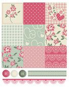 Shabby Chic Country Rose Vector Seamless Patterns.  Use to make quilts, fabric projects or paper cra