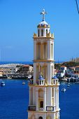 The bell tower of the Agios Nikolaos church at Emborio on the Greek island of Halki. The tower is th
