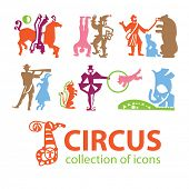 Circus. A collection of icons art - symbols of the circus. Vector signs.