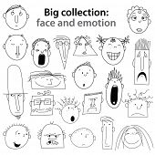 Big collection of - human emotions. Joy, happiness, indifference, anger, ... Vector set.