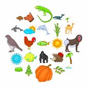 Climate Icons Set. Cartoon Set Of 25 Climate Icons For Web Isolated On White Background poster