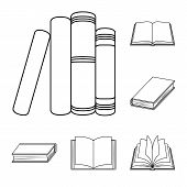 Vector Illustration Of Library And Textbook Sign. Collection Of Library And School Stock Vector Illu poster
