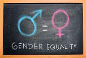 Symbol Of Male Gender Is Equal To Female Gender On The Blackboard. Equality Gender Concept poster