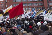 Na Rússia, Moscou - dezembro 24: 120 milhares de manifestantes levar ao acadêmico Sakharov perspectiva T