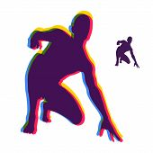 Athlete At Starting Position Ready To Start A Race. Runner Ready For Sports Exercise. Sport Symbol.  poster