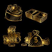 Sketch Of Money. Golden Vector Coins And Money Isolated On Black Background. Illustration Of Money G poster