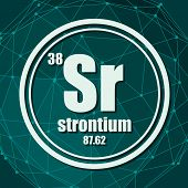 Strontium Chemical Element. Sign With Atomic Number And Atomic Weight. Chemical Element Of Periodic  poster
