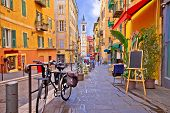 Nice Colorful Street Architecture And Church View, Tourist Destination Of French Riviera, Alpes Mari poster