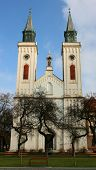 image of carmelite  - Carmelite church in the center of Sombor town Serbia front view against blue sky - JPG