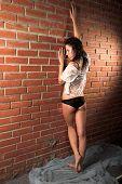 stock photo of wet pants  - Wet girl posing at red bricks wall - JPG