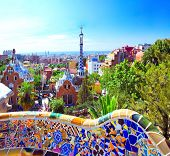 BARCELONA, SPAIN - JULY 25: The famous Park Guell on July 25, 2011 in Barcelona, Spain. Park Guell i