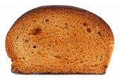picture of ruddy-faced  - Small dried slice of bread on a white background - JPG