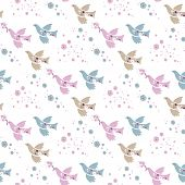 Seamless Pattern Of Flowers And Birds. For Packaging Design, Bed Linen, Covers, Packages, Clothing,  poster