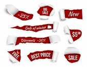 Promo Banners Ripped Paper. Sale Advertizing Tags Promotion Cut Edges Pages Vector Realistic Picture poster