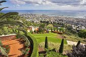 Grandiose magnificent landscape - Bahai gardens, Haifa and Mediterranean sea