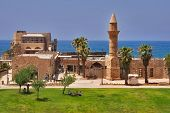 National park Caesarea on coast of Mediterranean sea in Israel