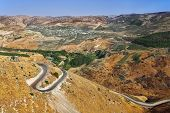 Road serpentine in mountains of Israel on border with Jordan