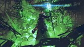 Sci-fi Character In Black Cloak With Light Spear Standing Against Green Explosion, Digital Art Style poster
