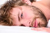 Total Relax Concept. Man Unshaven Bearded Face Sleep Relax Or Just Wake Up. Guy Bearded Macho Relax  poster