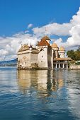 The well-known palace museum  Shillon on coast of lake Leman in Switzerland poster