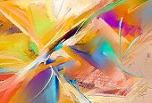 Abstract Colorful Oil, Acrylic Painting On Canvas Texture. Hand Drawn Brush Stroke, Oil Color Painti poster