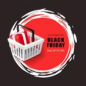 Black Friday Sale, 70 Percent Price Reduction Vector. Present In Shopping Basket With Text Sample, G poster