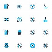 Protection Icons Colored Set With Laser Beam, Hand Protection, Radioactive Drinkable Elements. Isola poster